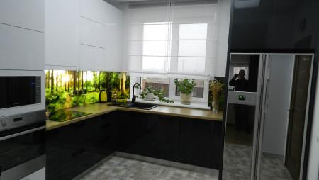 кухня и дизайн проект Кухня  из белого и графитового акрила